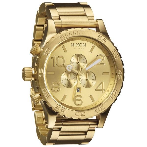 Shop Nixon Men's 51-30 Chrono All Gold Watch
