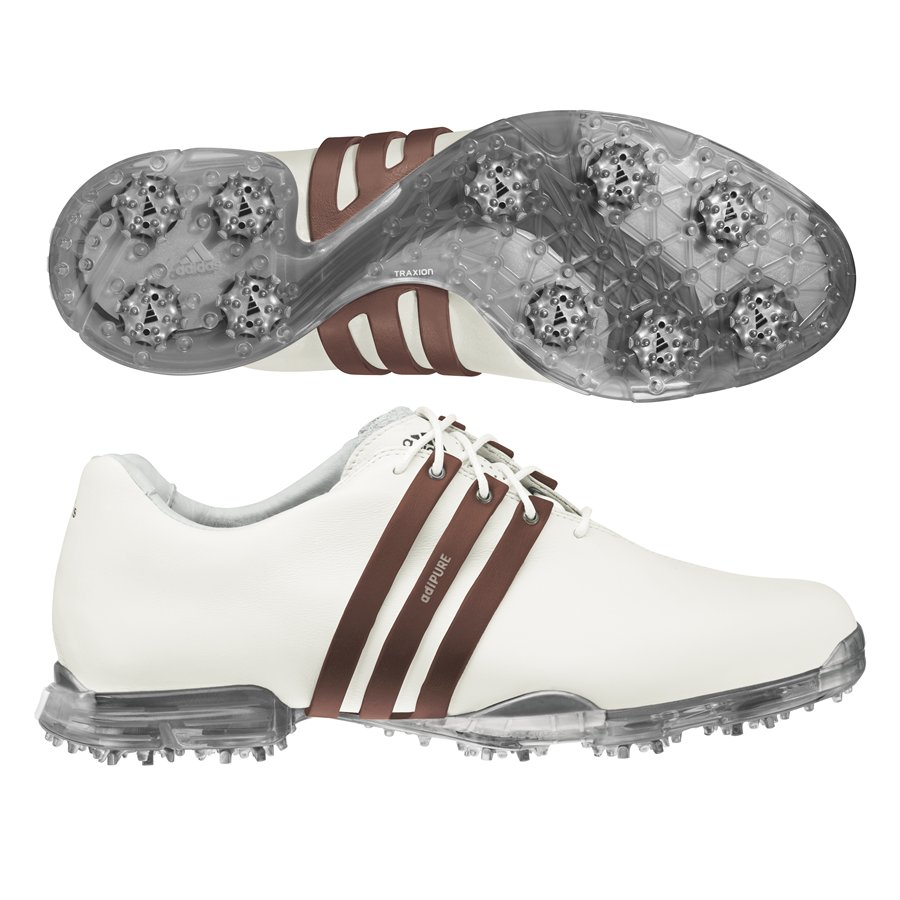 Adidas Men's Adipure White/ Brown Golf Shoes (White - Med...