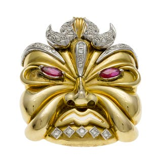 Pre-owned 14k Gold Ruby and 1 1/3ct TDW Diamond Mask Pendant (G-H, VS1-VS2)|https://ak1.ostkcdn.com/images/products/8002949/8002949/14k-Gold-Ruby-and-1-1-3ct-TDW-Diamond-Mask-Pendant-G-H-VS1-VS2-P15368674.jpg?impolicy=medium