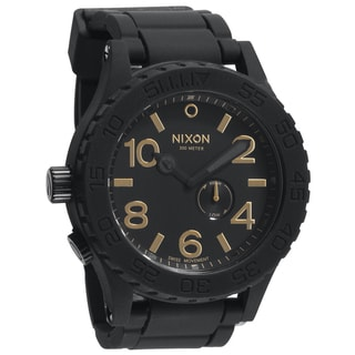 Nixon Men's 51-30 Matte Black and Gold Rubber Strap Watch