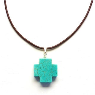 Every Morning Design Blue Turquoise Cross On Leather Necklace