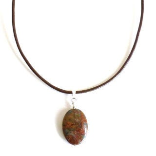 Every Morning Design Green Opal On Leather Necklace