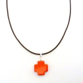 Orange Turquoise Cross on Leather Necklace