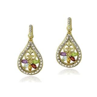 Glitzy Rocks Diamond Accent Multi Gemstone Dangle Teardrop Earrings
