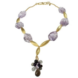 Michael Valitutti Amethyst, Smoky Quartz Labradorite and Tourmalated Quartz Necklace