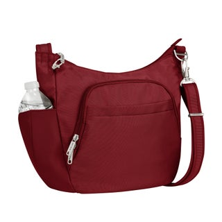 Travelon Anti-Theft Classic Cross-Body Bucket Bag (Option: CRANBERRY)
