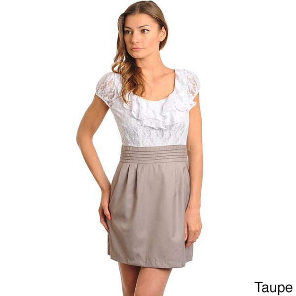 Stanzino Women's 2-fer Dress with Ruffle Neckline