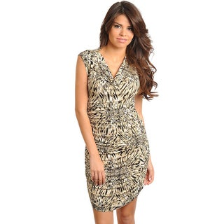 Stanzino Women's Sleeveless Tan Animal Print Dress