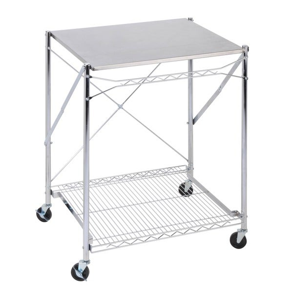 Folding Urban Stainless Steel Work Table   Free Shipping Today    Overstock.com   15369068