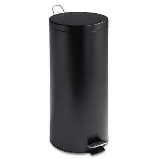 Matte Black 30-liter Round Step Trash Can with Bucket