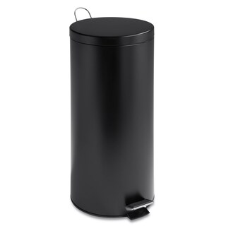 Honey-Can-Do Matte Black 30-liter Round Step Trash Can with Bucket