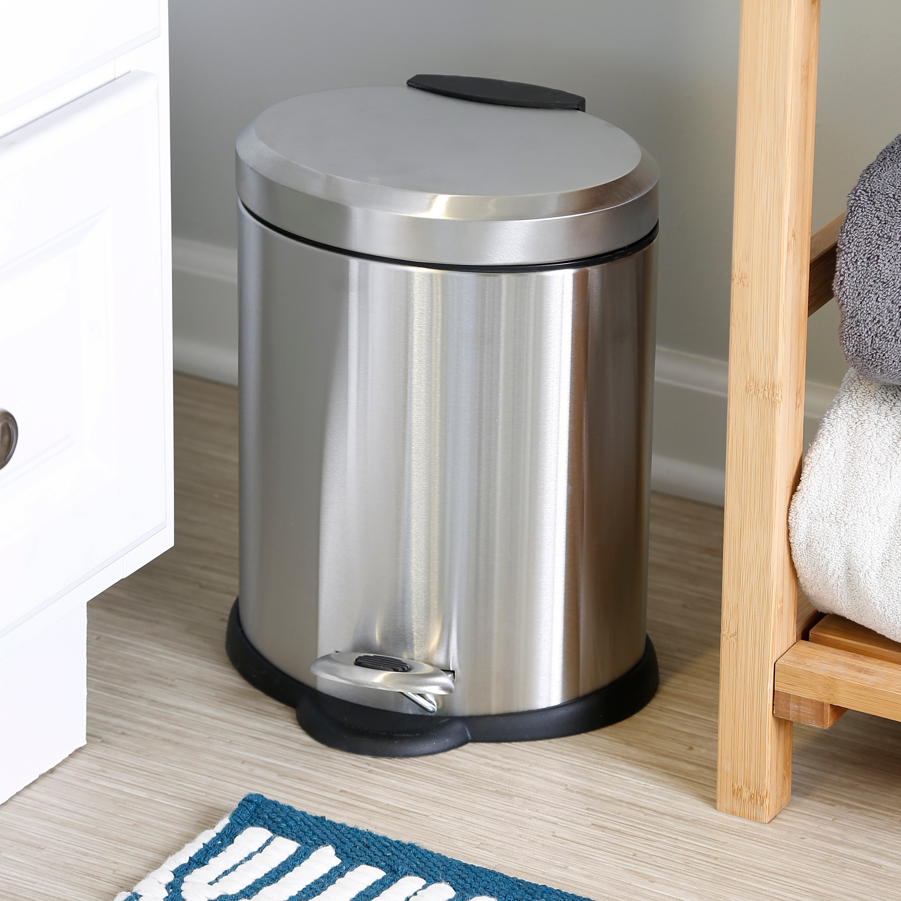 Silver Stainless Steel Oval Waste Can 10.5 Gallon Home Bathroom Garbage Basket