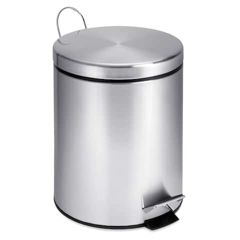 Honey-Can-Do Round Stainless Steel Step Trash Can, 5-liter