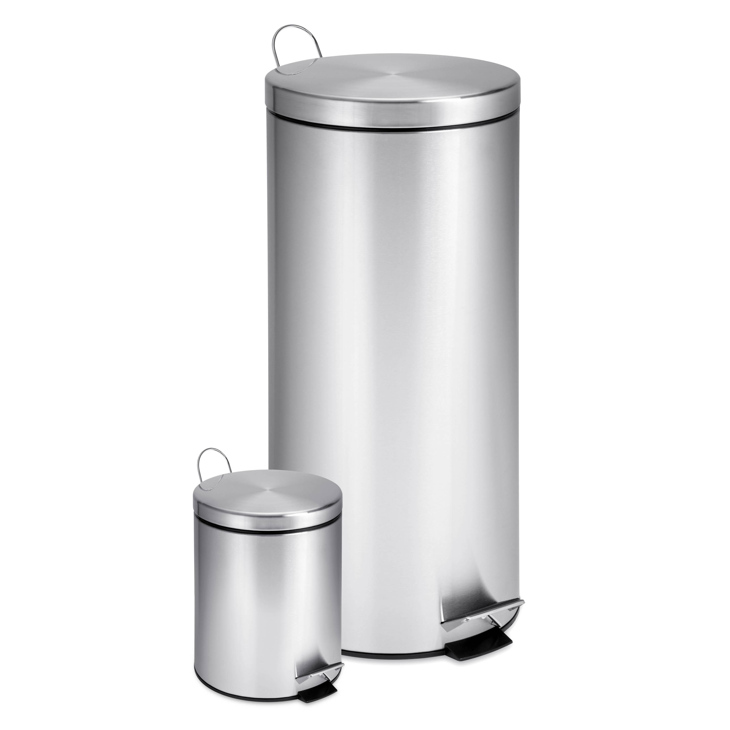 Details About Stainless Steel Step Trash Can 2 Set 30 L Large 3 Small Round Deep Lids Indoor