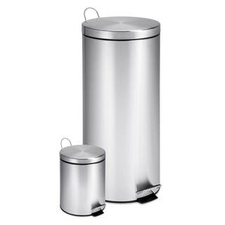 Honey Can Do Round Stainless Steel Step Trash Combo Set Of 2