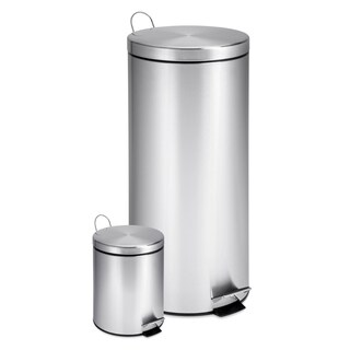 Honey-Can-Do Round Stainless Steel Step Trash Can Combo (Set of 2)