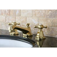 Double-Handle Polished Brass Widespread Bathroom Faucet