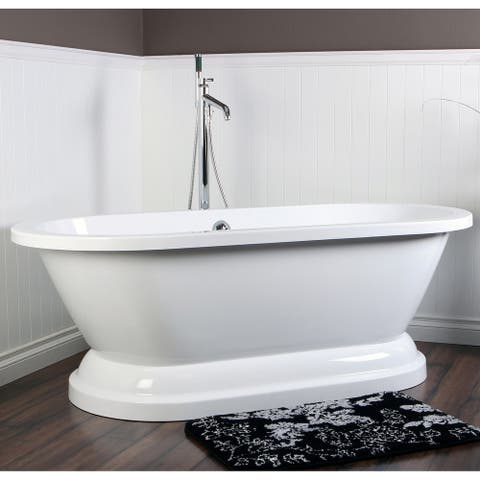 Contemporary Double-ended 67-inch Acrylic Pedestal Bathtub