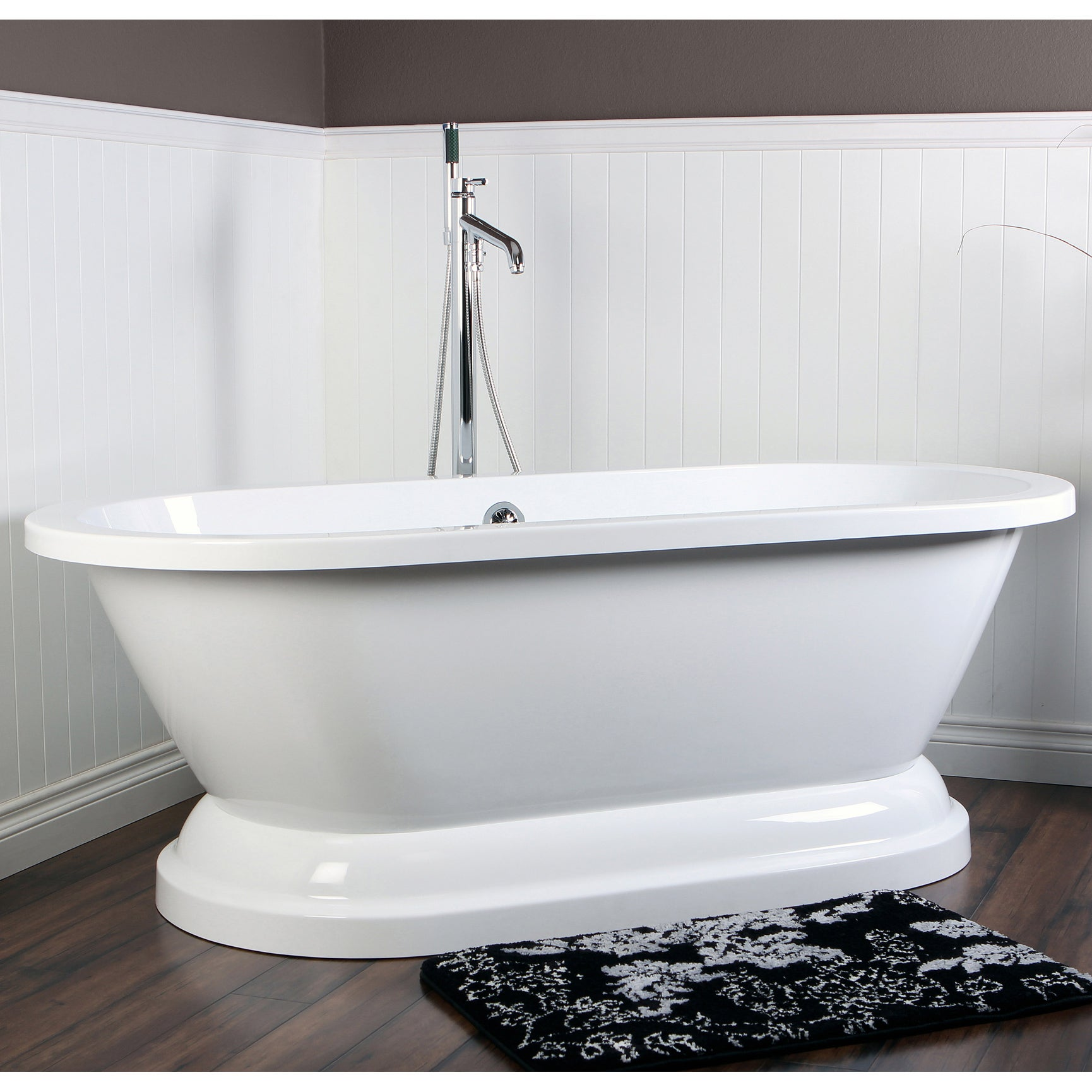 Attirant Contemporary Double Ended 67 Inch Acrylic Pedestal Bathtub