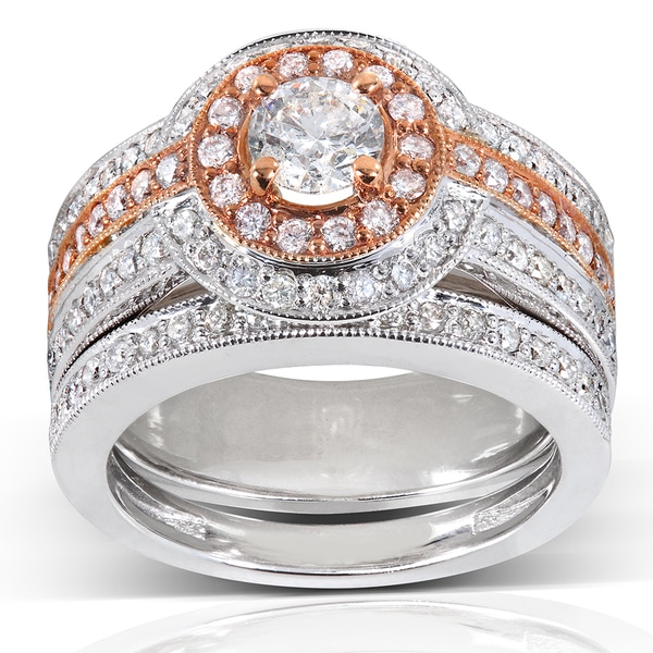 Annello by Kobelli 14k Gold 1 1/4ct TDW Rose Accent Halo Diamond Bridal Set