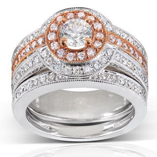 Annello by Kobelli 14k Gold 1 1/4ct TDW Rose Accent Halo Diamond Bridal Set (H-I, I1-I2)