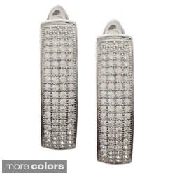 La Preciosa Sterling Silver Micro Pave CZ Hoop Earrings