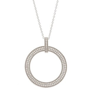 La Preciosa Sterling Silver Cubic Zirconia Pave Open Circle Necklace