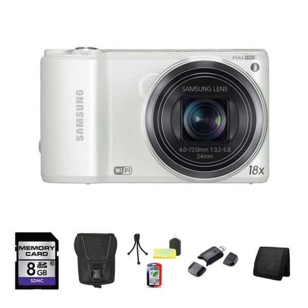 Samsung WB200F Smart 14.2MP White Digital Camera 8GB Bundle