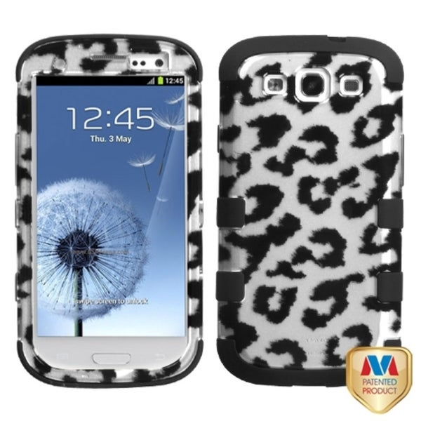 INSTEN Black/ 2D Silver Leopard TUFF Hybrid Phone Case Cover for Samsung Galaxy S III/ S3 i9300