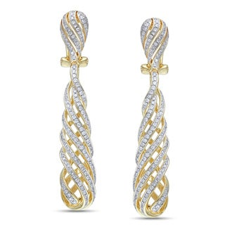 Miadora Signature Collection 14k Yellow Gold 1ct TDW Diamond Swirl Drop Earrings (G-H, SI1-SI2)