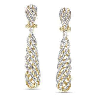 Miadora Signature Collection 14k Yellow Gold 1ct TDW Diamond Swirl Drop Earrings (G-H, SI1-SI2)