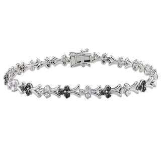 Miadora Sterling Silver 1ct TDW Black and White Diamond Bracelet (H-I, I2-I3)