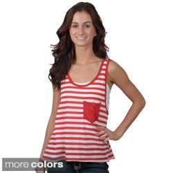 Journee Collection Juniors Striped Sleeveless Tank with Front Pocket