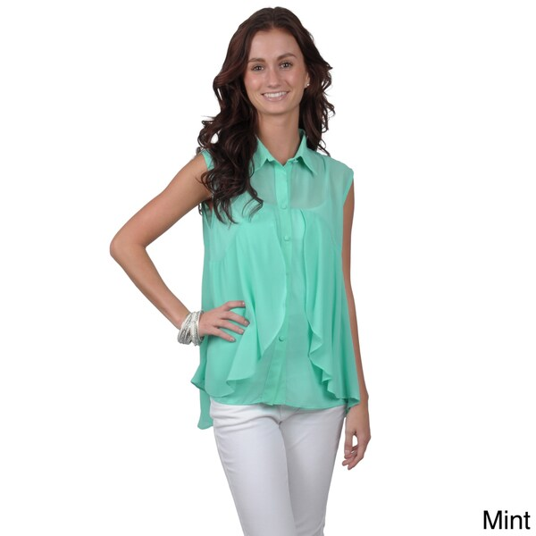 Journee Collection Juniors Sleeveless Sheer Button-up Top