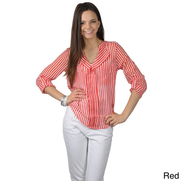 Journee Collection Women's Lightweight Striped Top