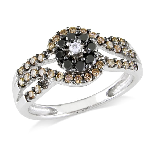 Miadora 14k White Gold 1/2ct TDW Brown and Black Diamond Flower Ring