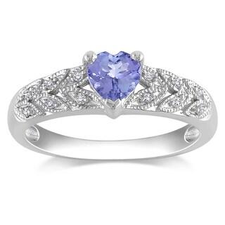 Miadora Sterling Silver Tanzanite and Diamond Ring