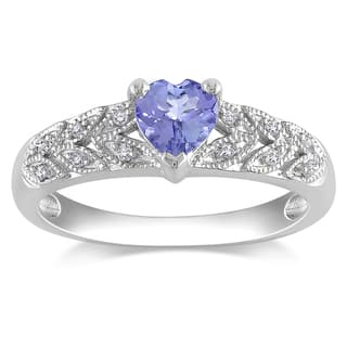 miadora sterling silver tanzanite and diamond ring - Tanzanite Wedding Rings