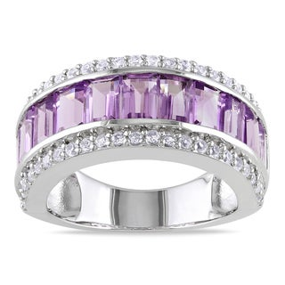 Miadora Sterling Silver Amethyst and White Sapphire Ring