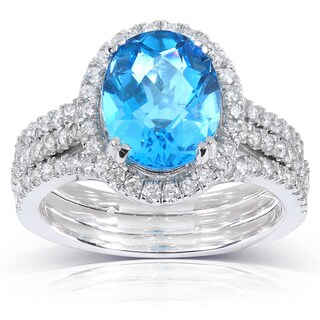 Annello by Kobelli 14k White Gold Blue Topaz and 4/5 ct TDW Diamond Ring (H-I, I1-I2)