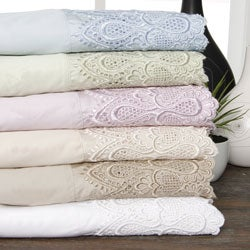 600 Thread Count Lace Cotton Blend Sheet Set