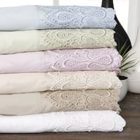 Gracewood Hollow Prescott 600 Thread Count Lace Cotton Blend Sheet Set
