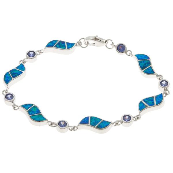 La Preciosa Sterling Silver Blue Inlay Opal Swirl and CZ Link Bracelet
