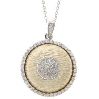 La Preciosa Sterling Silver Two-Tone CZ Circle Pendant
