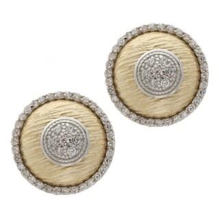 La Preciosa Two-tone Sterling Silver Cubic Zirconia Circle Earrings