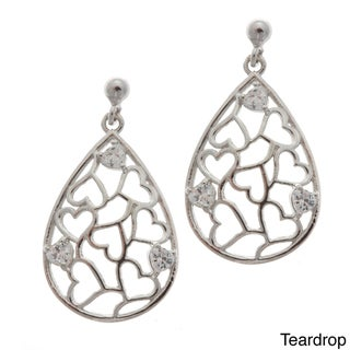La Preciosa Sterling Silver Cubic Zirconia Heart Design Earrings