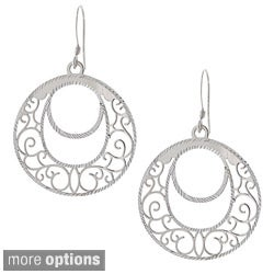 La Preciosa Sterling Silver Designed Dangling Earrings