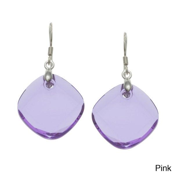La Preciosa Sterling Silver Square Crystal Earrings Made with SWAROVSKI Elements