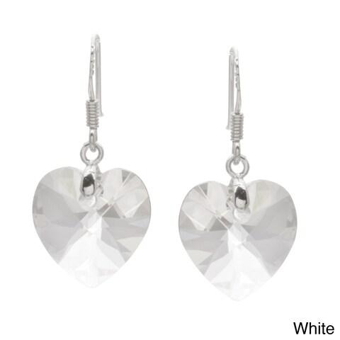 La Preciosa Sterling Silver Crystal Heart Earrings Made with SWAROVSKI Elements