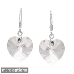 La Preciosa Sterling Silver Crystal Heart Earrings Made with SWAROVSKI Elements